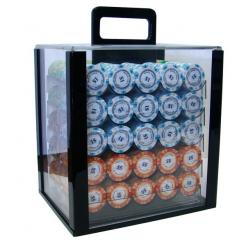 1000 monte carlo poker chip set in an acrylic poker chip carrier with 10 chip trays