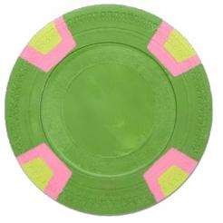 bundle of 25 green double trapezoid poker chips