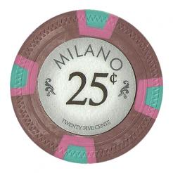 bundle of 25 brown milano 25 cent poker chips