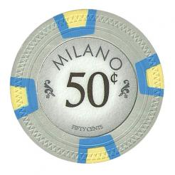 bundle of 25 gray milano poker chips