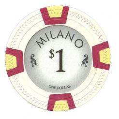 bundle of 25 white milano poker chips