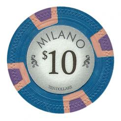 bundle of 25 blue milano poker chips