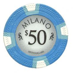 bundle of 25 light blue milano poker chips