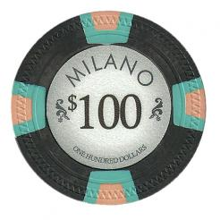 bundle of 25 black milano poker chips