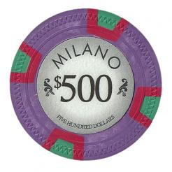 bundle of 25 purple milano poker chips
