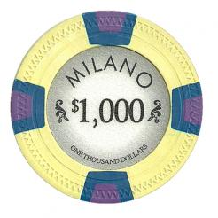 bundle of 25 yellow milano poker chips