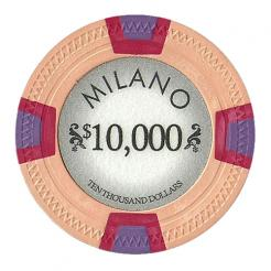 bundle of 25 orange milano poker chips