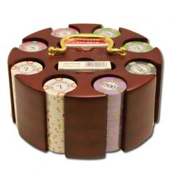 200 milano poker chip set in a wooden chip carousel