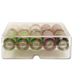 200 milano poker chip set in an acrylic tray