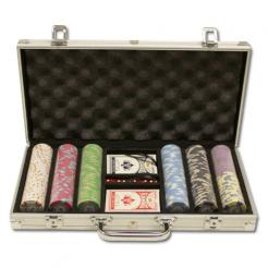 300 milano poker chip set in an aluminum case