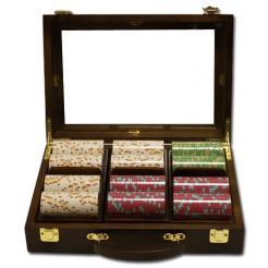 300 milano poker chip set in a walnut case with 3 removable chip trays