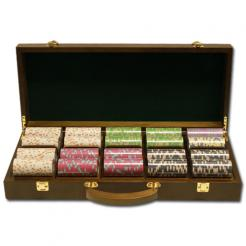 500 Milano Poker Chip Set in a Walnut Case with removable chip trays