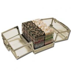 600 milano poker chip set in an acrylic chip carrier with 6 chip trays
