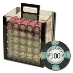 1000 milano poker chip set in an acrylic chip carrier with 10 chip trays