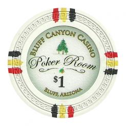 bundle of 25 white bluff canyon poker chips