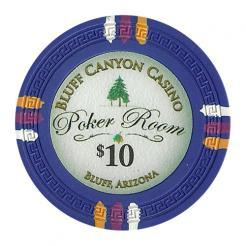 bundle of 25 blue bluff canyon poker chips