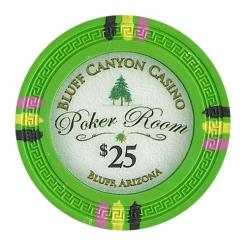 bundle of 25 green bluff canyon poker chips