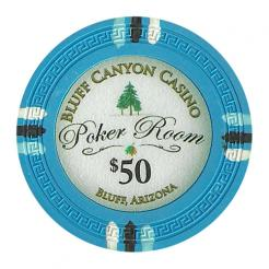 bundle of 25 light blue bluff canyon poker chips