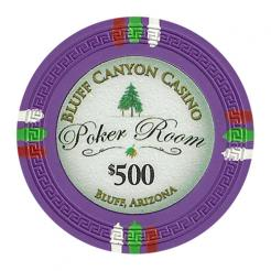 bundle of 25 purple bluff canyon poker chips