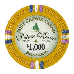 bundle of 25 yellow bluff canyon poker chips