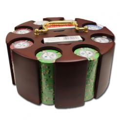200 bluff canyon poker chip set in a wooden chip carousel