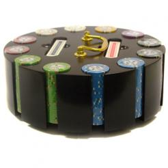 300 bluff canyon poker chip set in a wooden chip carousel