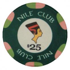 Bundle of 25 green nile club poker chips
