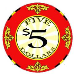 bundle of 25 red scroll poker chips