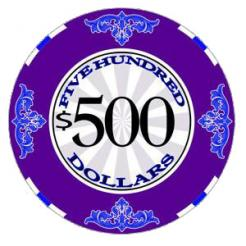 bundle of 25 purple scroll poker chips
