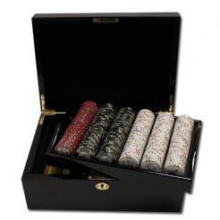 500 bluff canyon casino poker chip set in a mahogany case