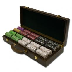 500 Bluff Canyon Poker Chip Set in a Walnut Case with 5 removable chip trays