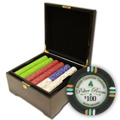 750 bluff canyon poker chip set in a mahogany case