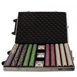 1000 bluff canyon poker chip set in a rolling aluminum case