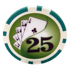 Bundle of 25 green yin yang poker chips