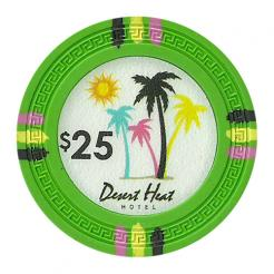 bundle of 25 green desert heat poker chips