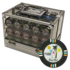 600 Desert Heat Poker Chip Set in an acrylic chip carrier with 6 chip trays