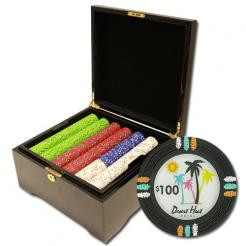 750 Desert Heat Poker Chip Set in a mahogany case
