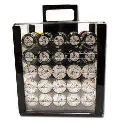 1000 Desert Heat Poker Chip Set in an acrylic chip carrier