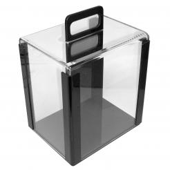 this acrylic poker chip carrier will hold 1000 poker chips.  This is the same carrier that is used in casino's and card
