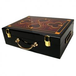 This humidor style poker chip case features graphics of spades and clubs on the lid and a removable chip tray inside.  T