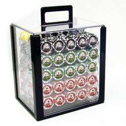 1000 yin yang poker chip set with an acrylic chip carrier and chip trays
