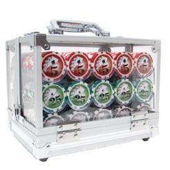 600 yin yang poker chip set with an acrylic chip carrier and chip trays