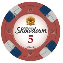 Bundle of 50 Red Showdown Poker Chips