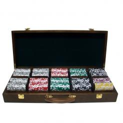500 yin yang poker chip set in a walnut chip case with removable chip trays