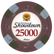 Bundle of 50 Brown Showdown Poker Chips