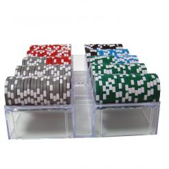 200 black diamond poker chip set in an acrylic tray with a lid