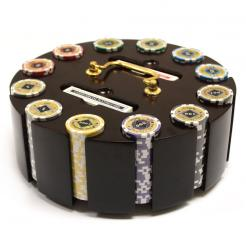 300 black diamond poker chip set in a wooden chip carousel