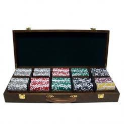 500 black diamond poker chip set in a walnut case with removable chip trays