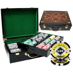 500 Black Diamond Poker Chip Set in a humidor style case