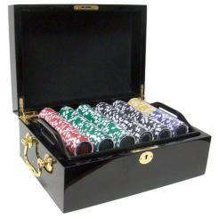 500 black diamond poker chip set in a mahogany case